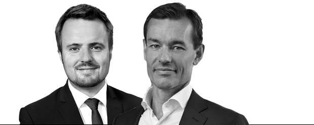 Simon Kollerup, erhvervsminister, og Rolf Kjærgaard, adm. dir. i Vækstfonden
