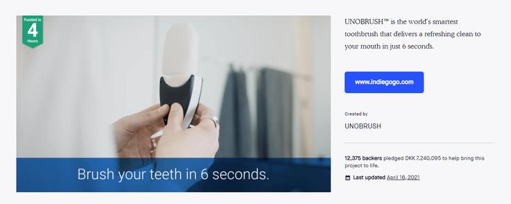 Den oprindelige ide til Unobrush, som sidenhen blev skrottet. Foto: Screenshot fra Kickstarter.com