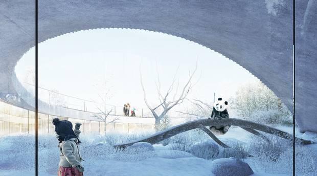 »I naturen lever pandaen i de bjergrige egne i det vestlige Kina , og med projektets to bakker får både panda og publikum en oplevelse af dette oprindelige landskab.« Foto: BIG Bjarke Ingels Group