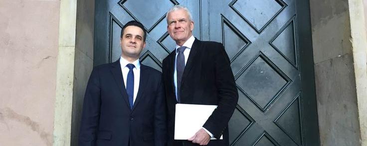 Rawad Shedhada og Anders Boelskifte vil fortsætte samarbejdet, når Rawad Shedhada på et tidspunkt rejser tilbage til Syrien. PR-foto: Boelskifte Advokater
