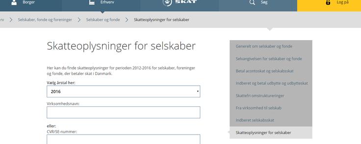 De åbne skattelister kan findes på Skats hjemmeside.