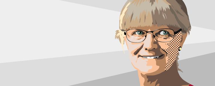Nina Smith, bestyrelsesformand i Forenet Kredit, håber, at foreningens øverste myndighed repræsentantskabet siger ja til at sælge en del af Nykredit til fem pensionsselskaber. Illustration: Anders Vester Thykier.