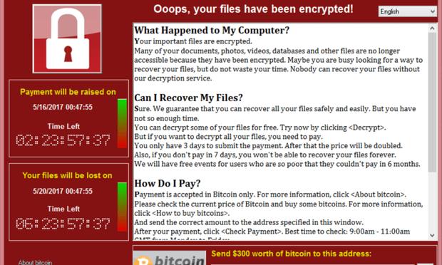 Foto: Screenshot af WannaCry-ransomeware angreb / Kaspersky Lab